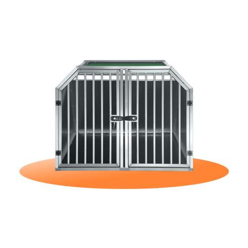 Aluminium double dog crate ALEX - TRAVELLING DOG